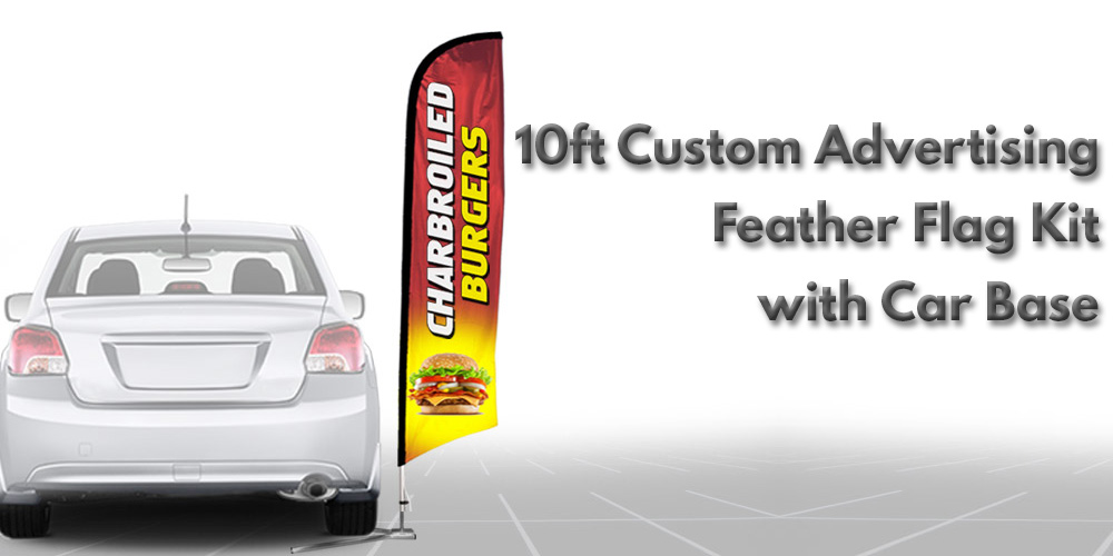 10ft Custom Advertising Feather Flag Kit with Cross Base