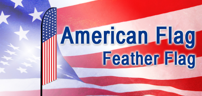 American Flag Style Feather Banner