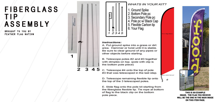 Fiberglass Pole Kit Assembly Instructions for Feather Flags and Banner Flags