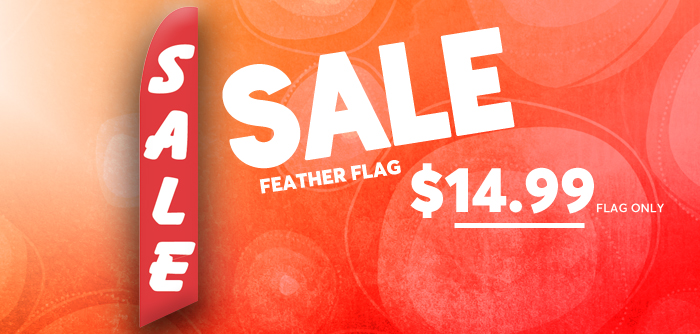 Red and White Sale Swooper Banner Advertising Flag