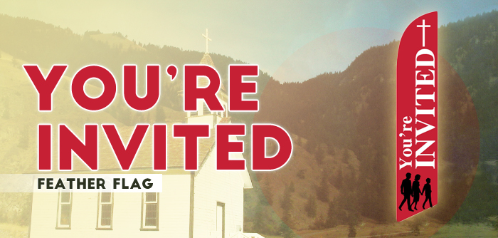 Church Feather Banner Swooper Flag You're Invited