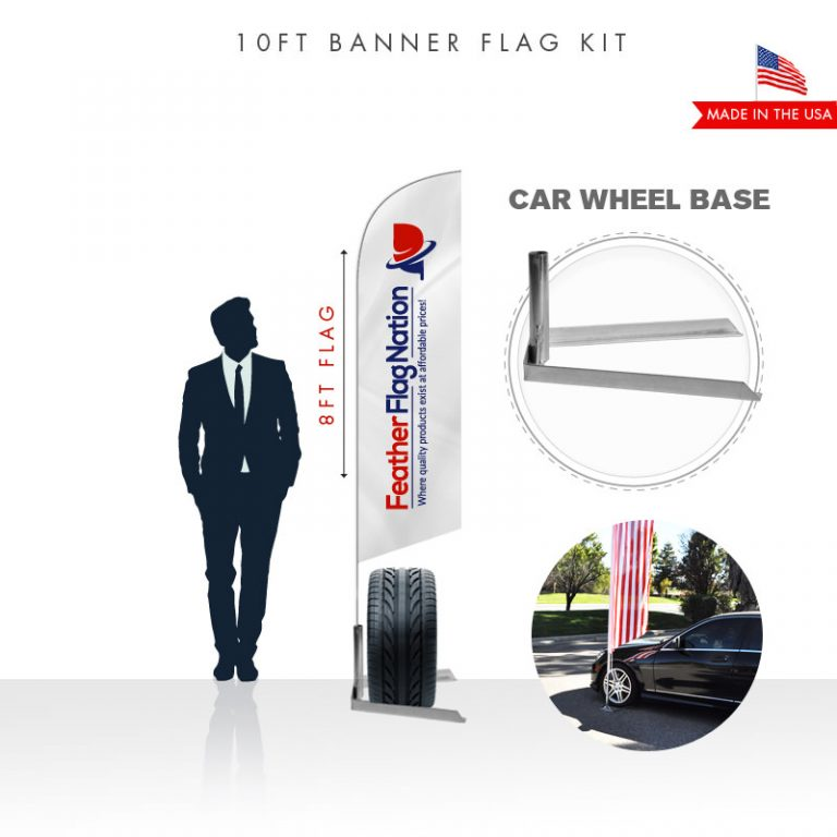 10ft Custom Advertising Feather Flag Kit with Car Base