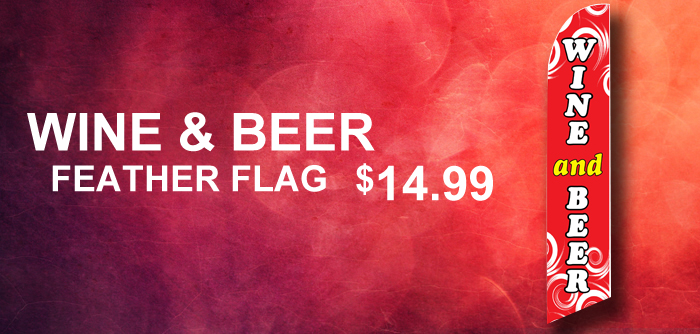 Wine and Beer Red Swirl Feather Flag Banner Swooper