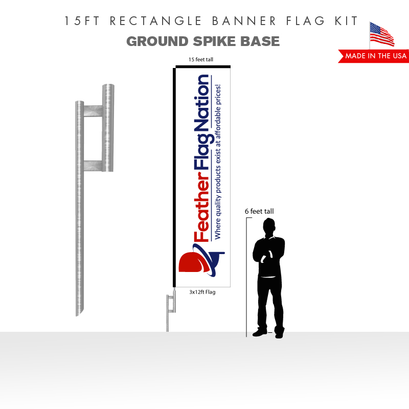 15FT RECTANGLE BANNER FLAG WITH GROUND SPIKE BASE