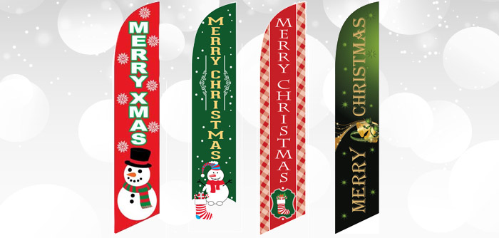 Christmas Holiday Feather Flags