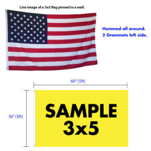 Custom 3x5 Flag specifications - finish with grommets or sleeves.