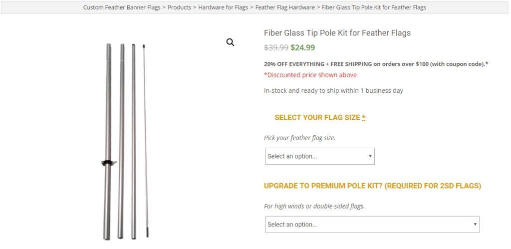 Antenna Fiber-glass tip feather flag pole kit