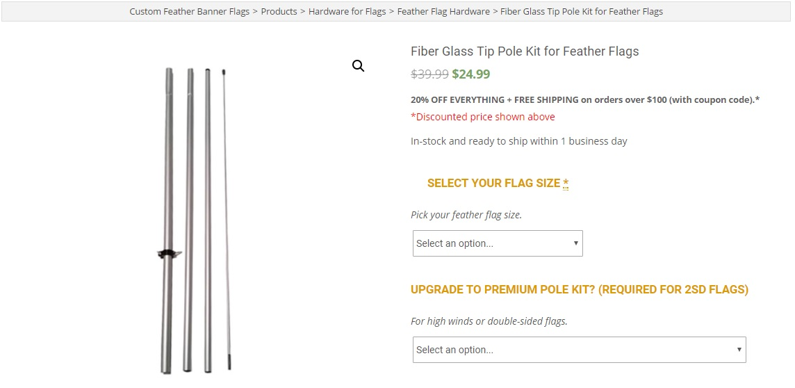 Antenna Fiber-glass tip feather flag pole kit