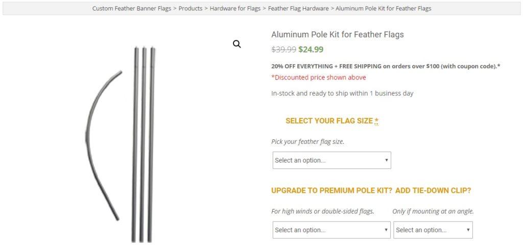 Full Aluminum Feather Flag Pole Kit
