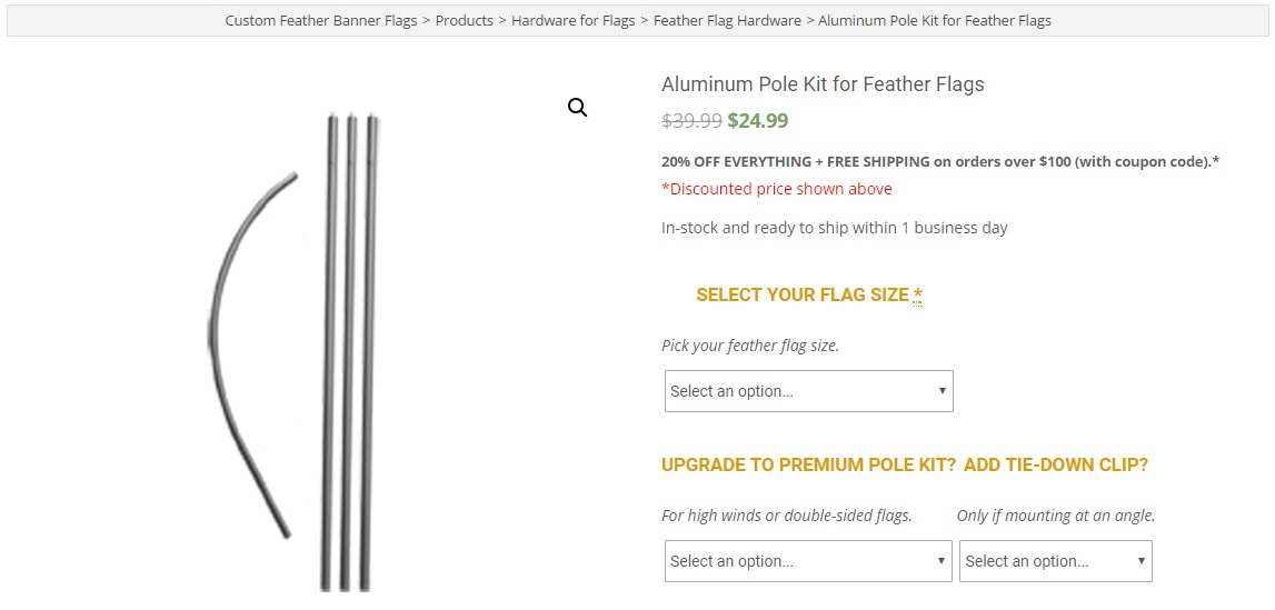 Full Aluminum Feather Flag Pole Kit