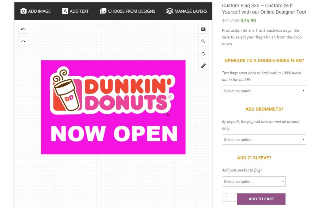 Finished Dunkin' Donuts Design on Custom Flag Design Tool