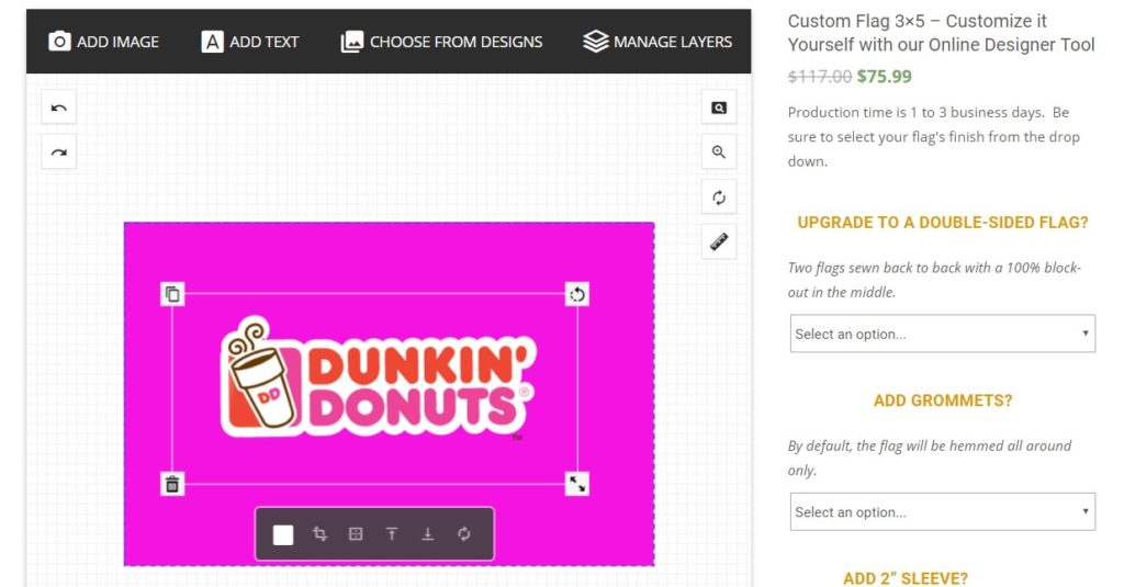 Adjusting Graphics on Custom Flag Design Tool