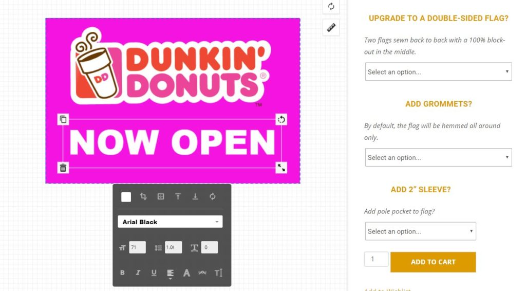 Adding Text to Signs Design Tool