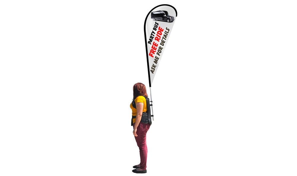 Backpack Flags - Teardrop flag banner shape