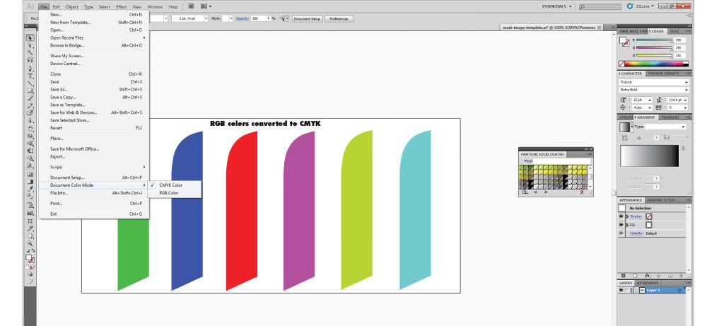 Adobe Illustrator CMYK color mode