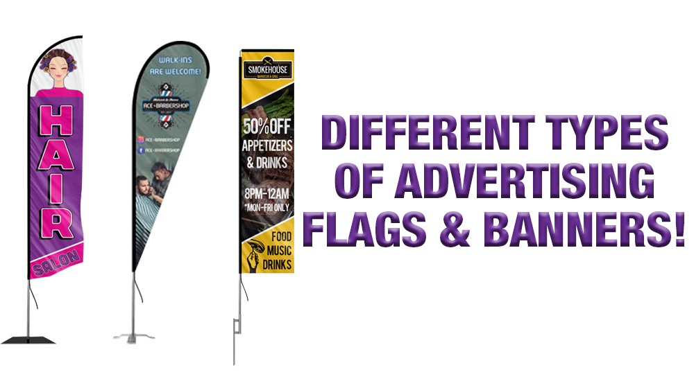 different types of advertising flags and banners