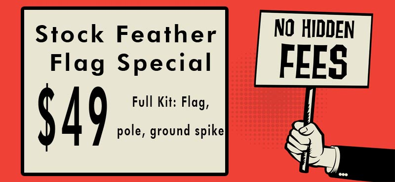 no hidden fees feather flags banner 1