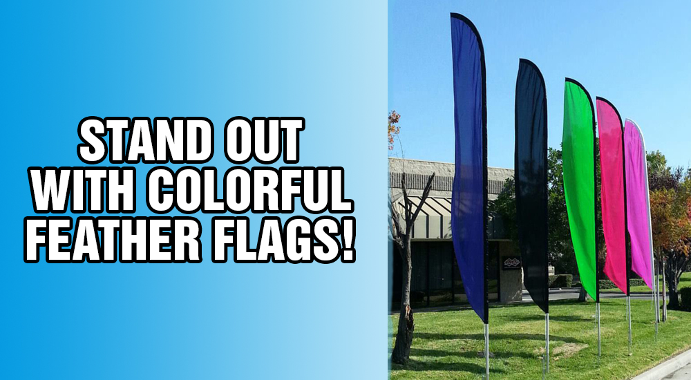 stand out with colorful feather flags