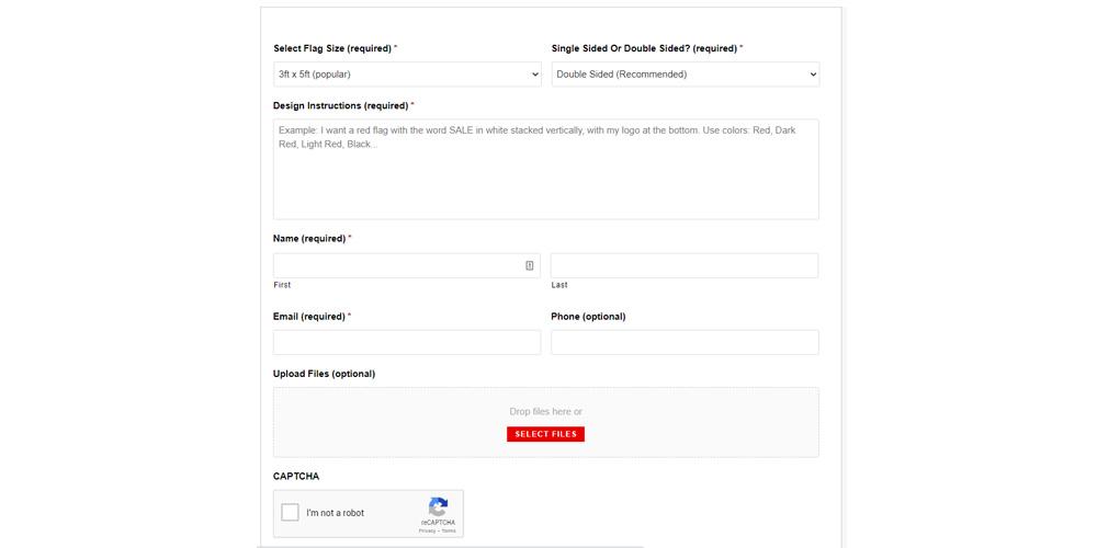 Custom Flag Design Request Page