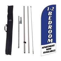1-2 Bedroom Available blue Feather Flag Kit w/ Ground Stake and Travel Bag