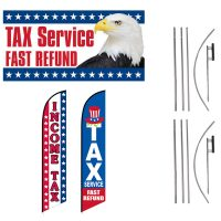 Tax Service Feather Flags & Tax Service Vinyl Banner – Pack of 3 with Pre-Curved Poles & Ground Spikes