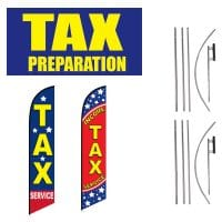 Tax Service Vinyl Banner & 2 Feather Flag – Pack of 3 with Pre-Curved Poles & Ground Spike