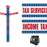 Tax Service Tube Man & Vinyl Banners – Pack of 3 with Blower