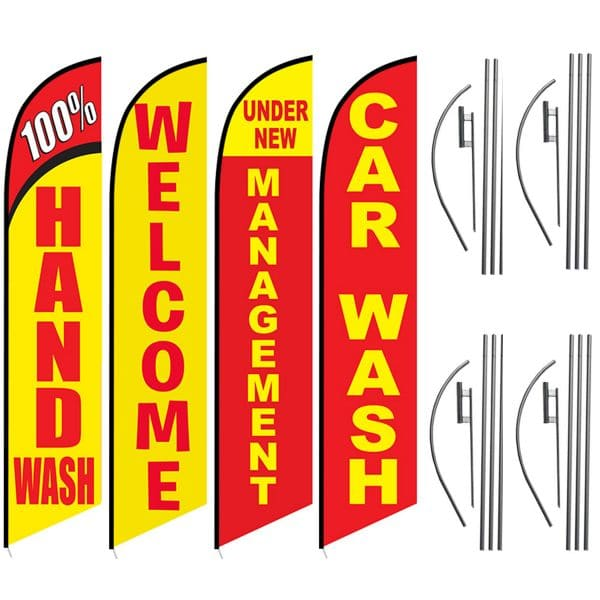 100 percent hand wash - welcome - under new management - car wash - Feather Flag Kits (4 Flags + 4 Pole Kits + 4 Ground