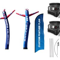Tax Service Inflatable Tube Man & Custom Flag – Pack of 3 with Pre-Curved Poles & Ground Spike & Blowers