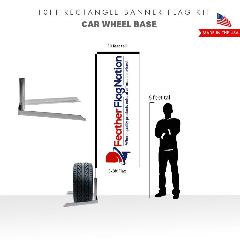 10ft Rectangle Banner Flag With Car Wheel Base