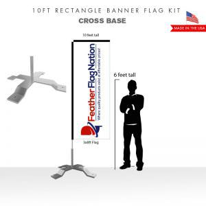 10ft Rectangle Banner Flag With Cross Base