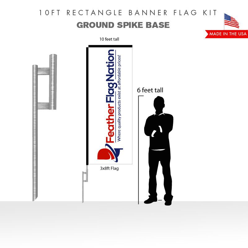 10ft Rectangle Banner Flag With Ground Spike Base