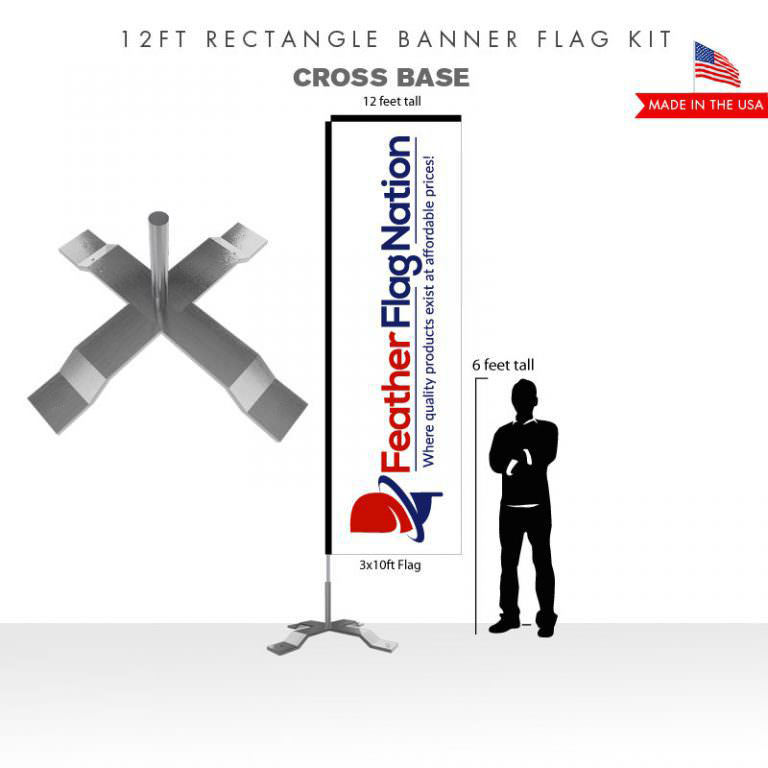 12ft Rectangle Banner Flag With Cross Base