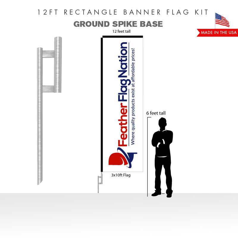 12ft Rectangle Banner Flag With Ground Spike Base