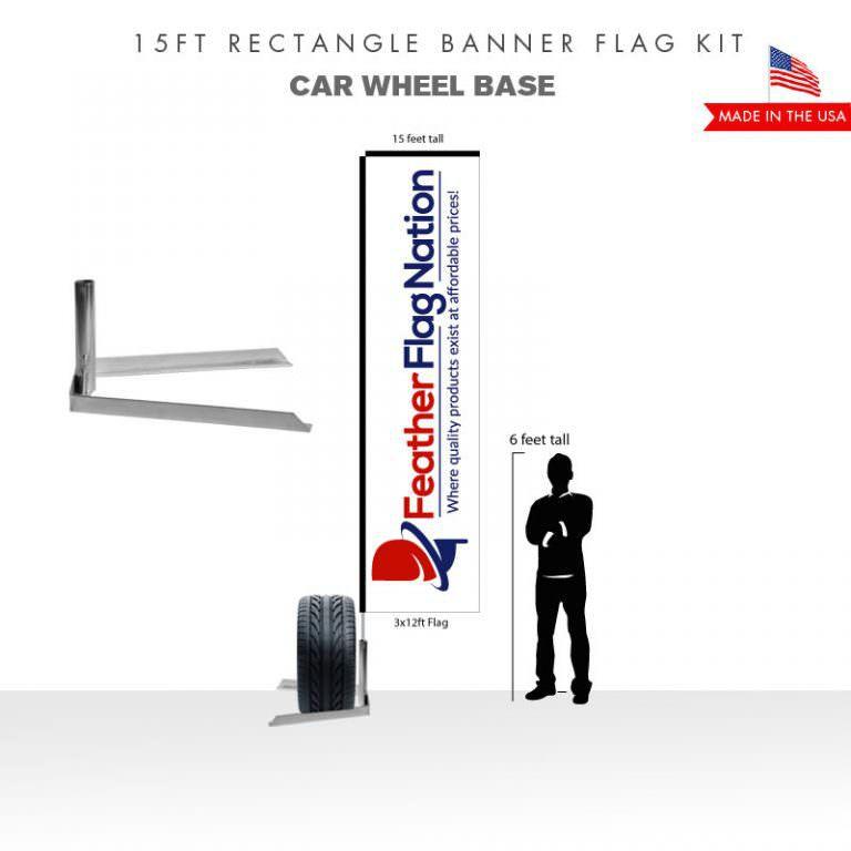 15ft Rectangle Banner Flag With Car Wheel Base