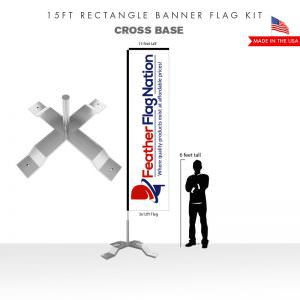15ft Rectangle Banner Flag With Cross Base