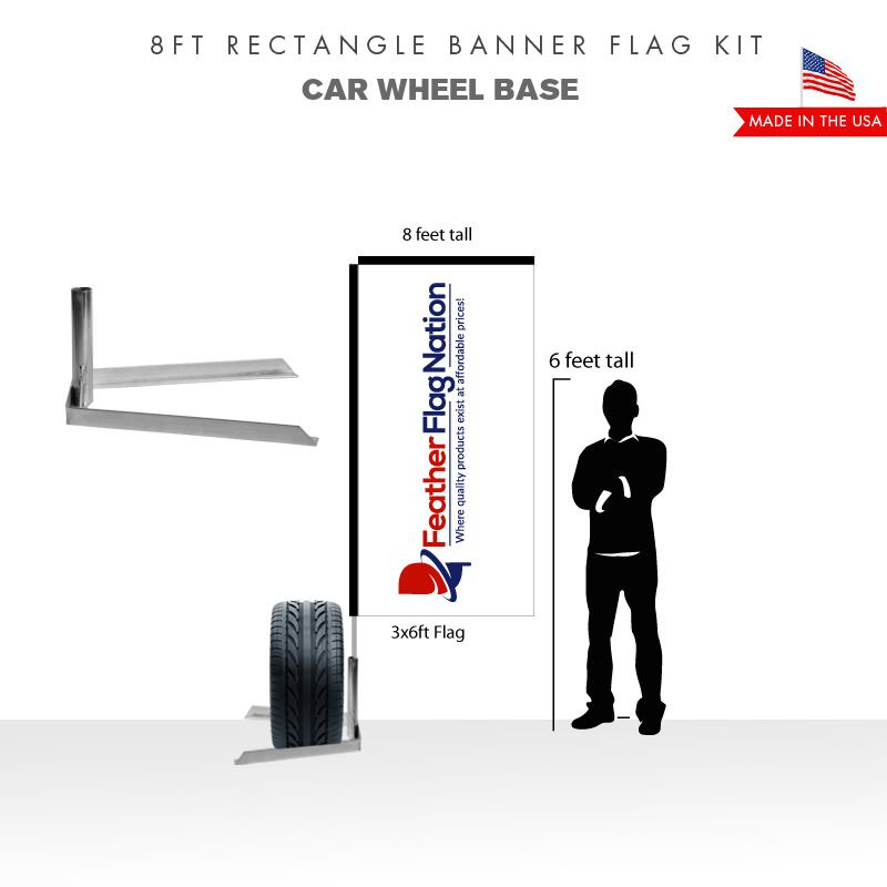 8ft Rectangle Banner Flag With Car Wheel Base