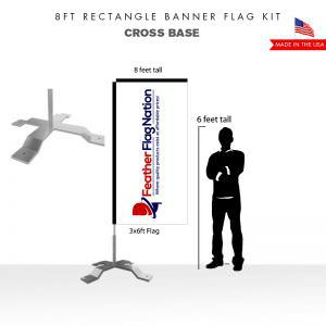 8ft Rectangle Banner Flag With Cross Base