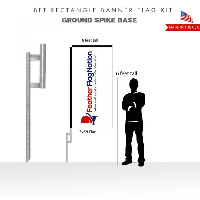 8ft Rectangle Banner Flag With Ground Spike Base
