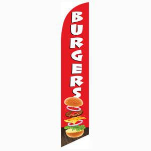 Burgers Feather Flag to let the public know of your tasty burgers.