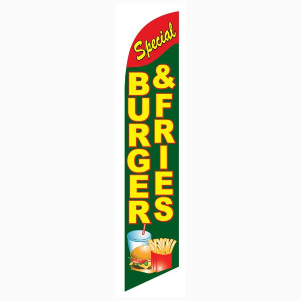 Burgers Fries Feather Flag for restaurants that serve delicious food.