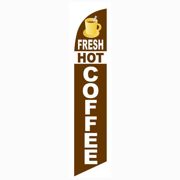 Fresh hot coffee feather flag for all cafes and restaurants.