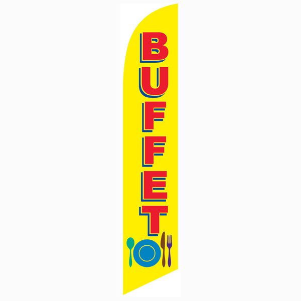 Let customers know that you have a buffet with this buffet feather flag.