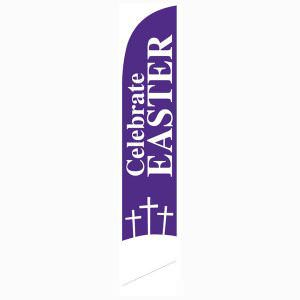 Our celebrate Easter feather flag for outdoor church décor.