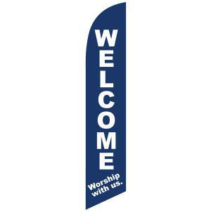 Welcome Worship with us feather flag to invite new members.
