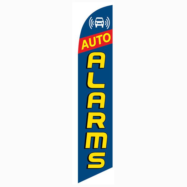 Blue Auto Alarms Outdoor Advertising Feather Banner Flag