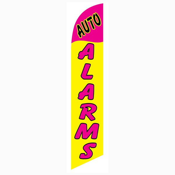 Yellow and Pink Auto Alarms Outdoor Advertising Feather Banner Flag