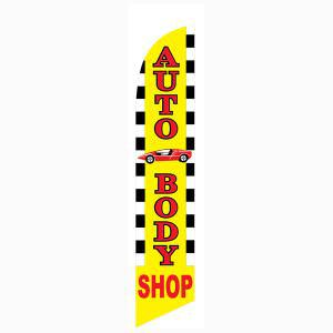 Yellow Checkered Auto Body Shop Outdoor Advertising Feather Banner Flag