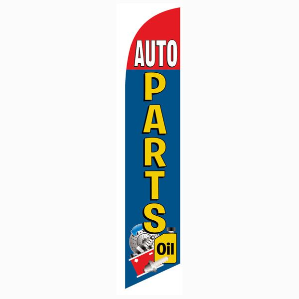 Blue and Red Auto Parts Outdoor Advertising Feather Banner Flag