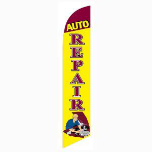 Auto Repair with Mechanic Outdoor Advertising Feather Banner Flag